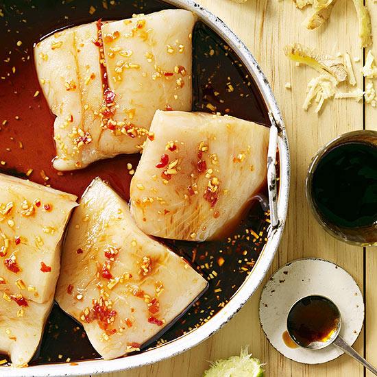 Grilled Hoisin-Glazed Halibut and Bok Choy