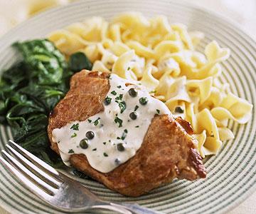 Pork Chops with Green Peppercorn Sauce