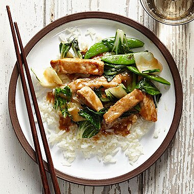 Hoisin-Glazed Pork, Bok Choy and Snap Peas