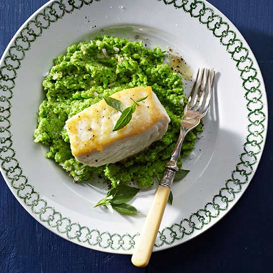 Smashed Peas with Halibut