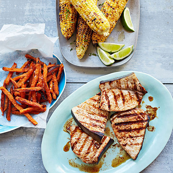 Chili-Lime Swordfish and Grilled Corn