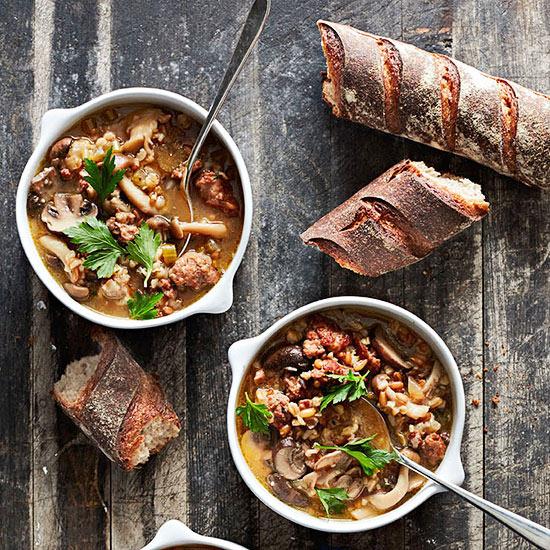 Mushroom, Sausage and Whole Grain Soup