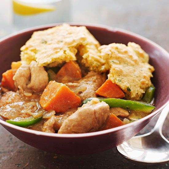 Slow-Cooker Chipotle Pork and Sweet Potato Stew with Cornbread