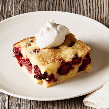 Blackberry Corn Cake with Honey Whipped Cream