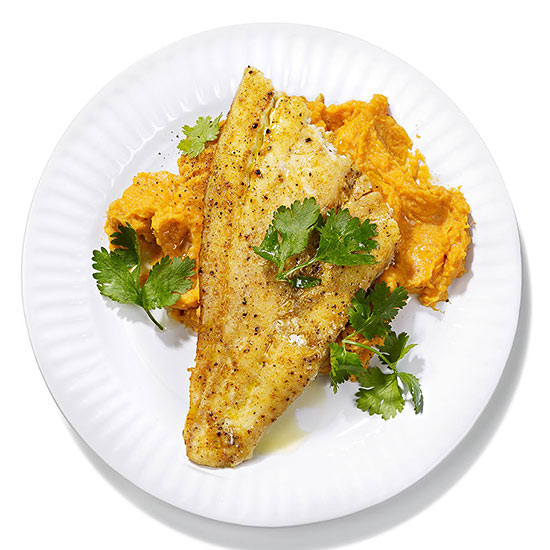 Curried Flounder with Coconut Sweet Potatoes