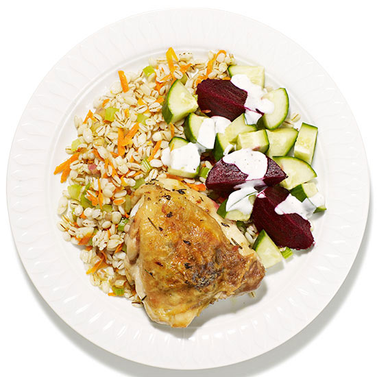 Roast Chicken with Barley Pilaf