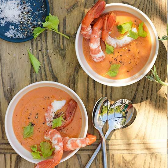 Shrimp with Gazpacho Cocktail Sauce