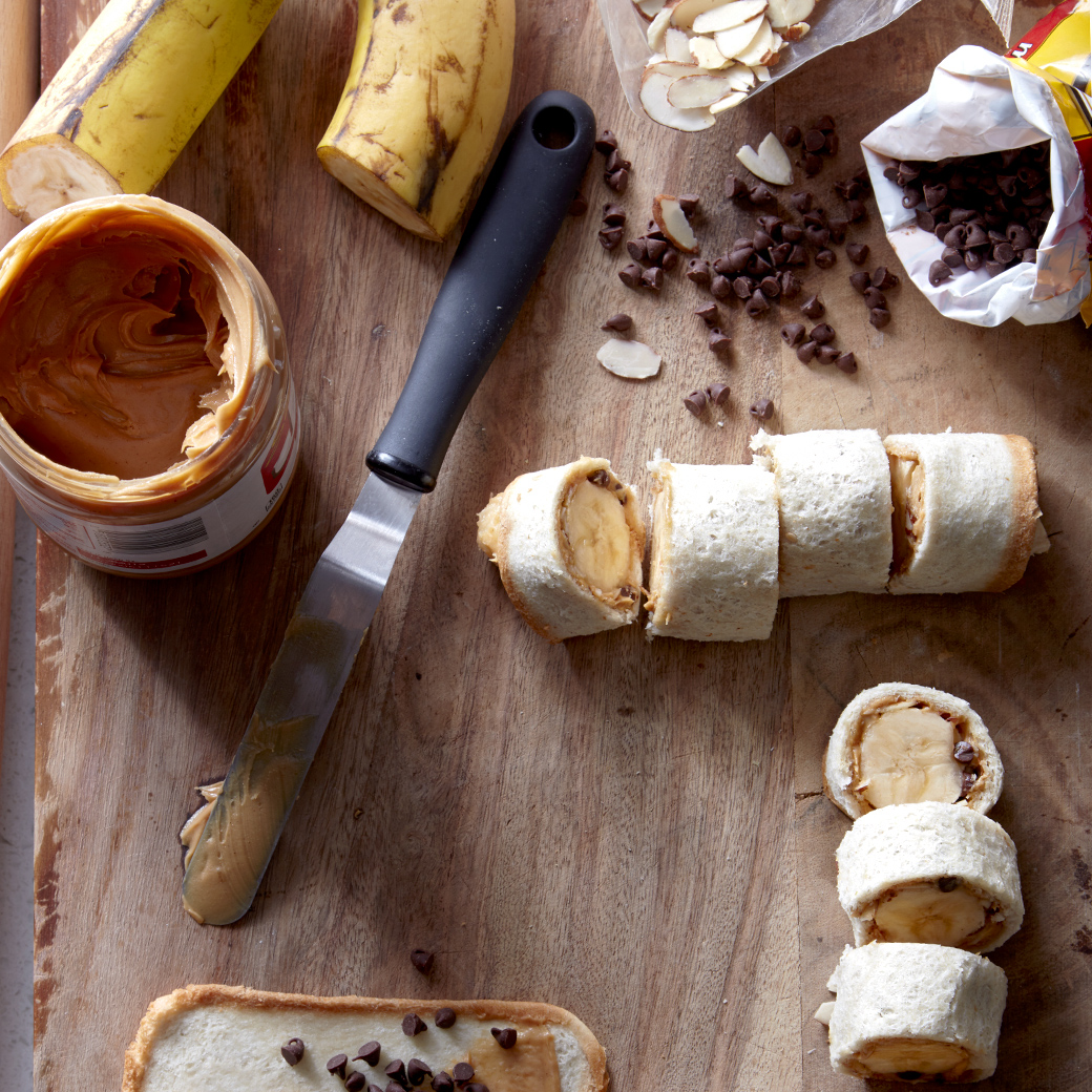 banana-pb roll-ups and ingredients
