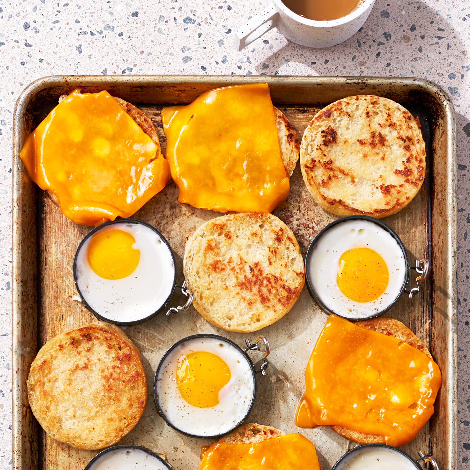 egg sandwiches on sheet pan