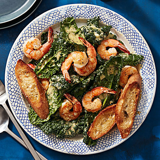 Kale Caesar with Shrimp
