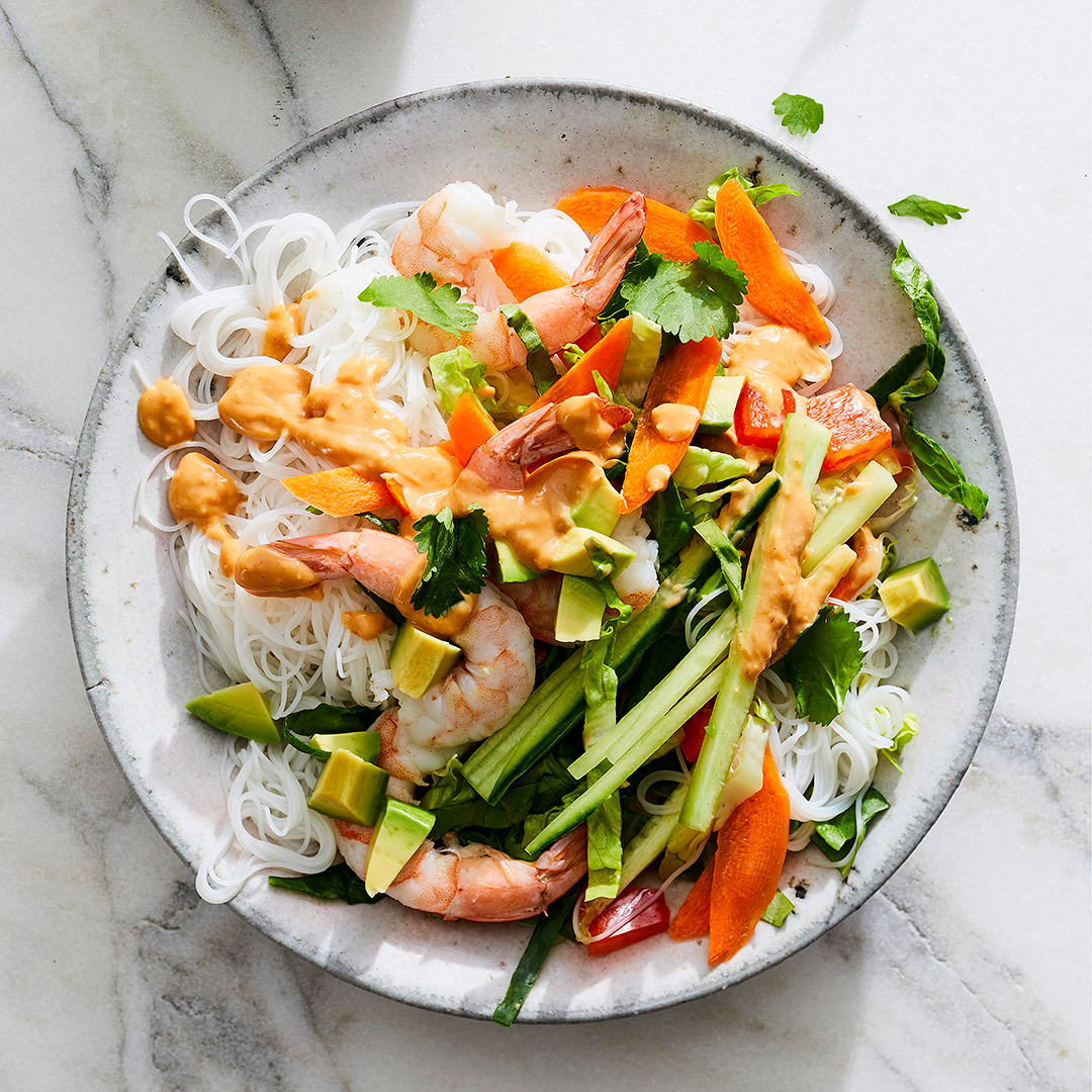 salad with shrimp summer roll