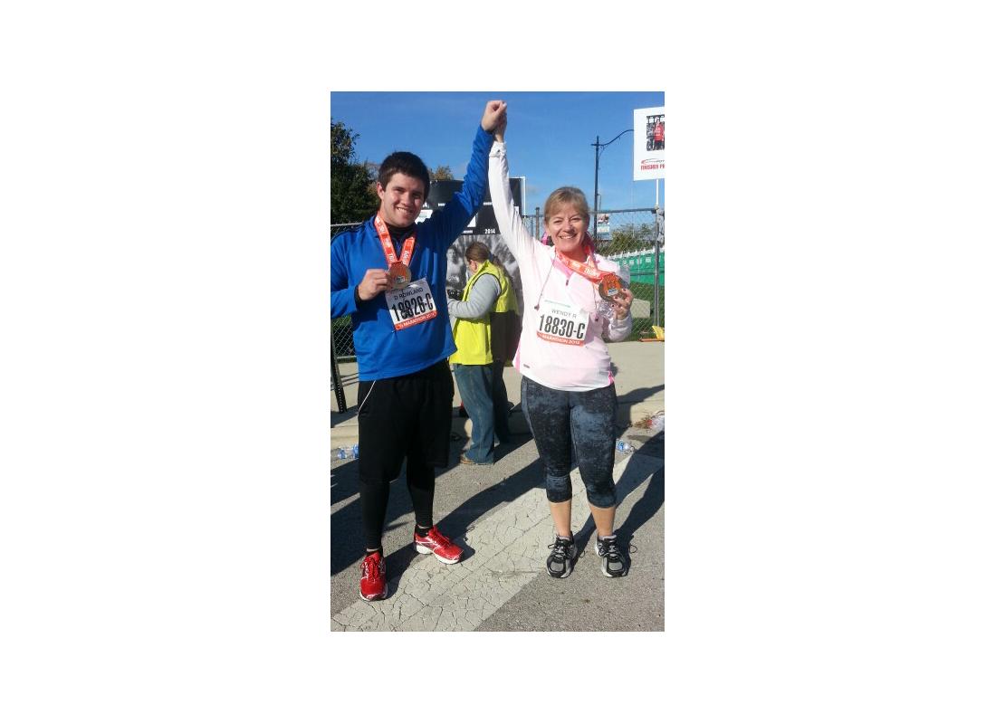 Wendy Rowland and son after half marathon