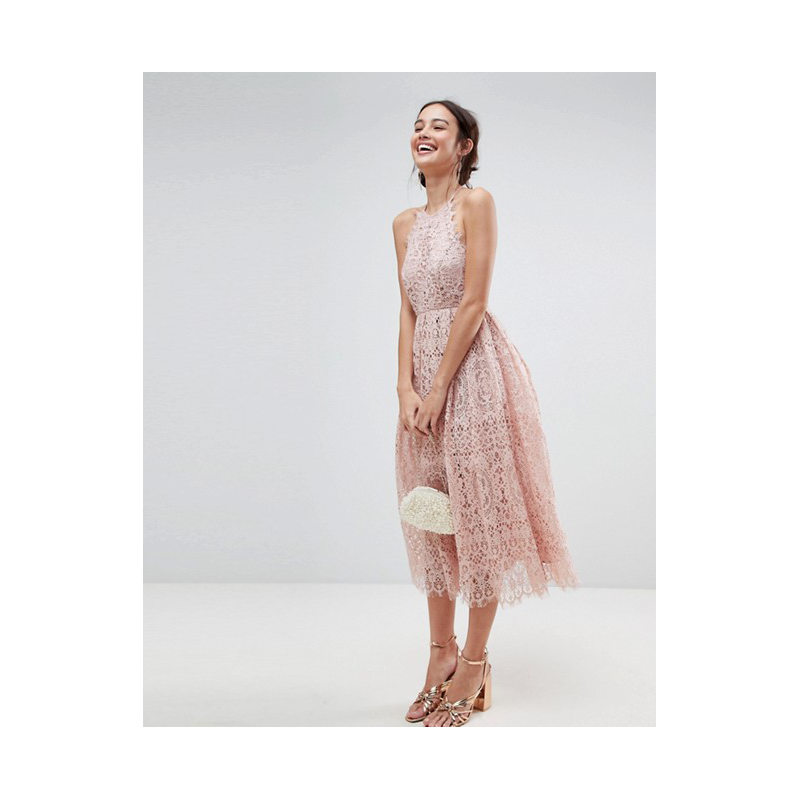 Asos pink lace prom dress