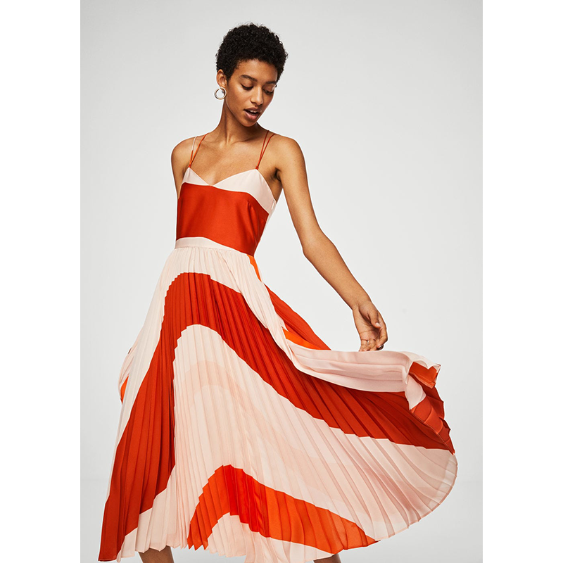 Mango red pleated prom dress