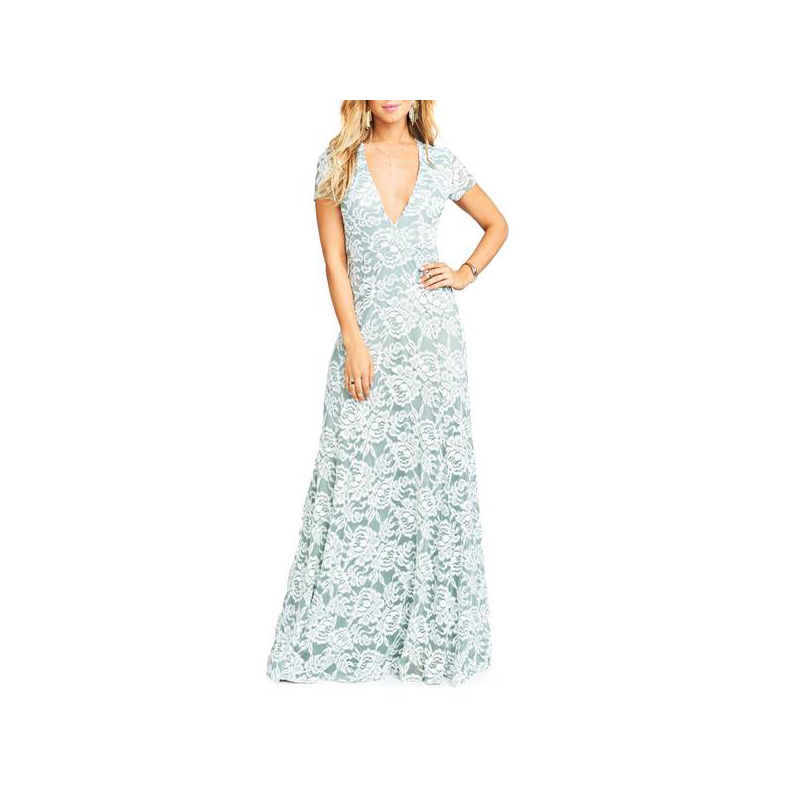 Show me Your MUMU mint lace prom gown