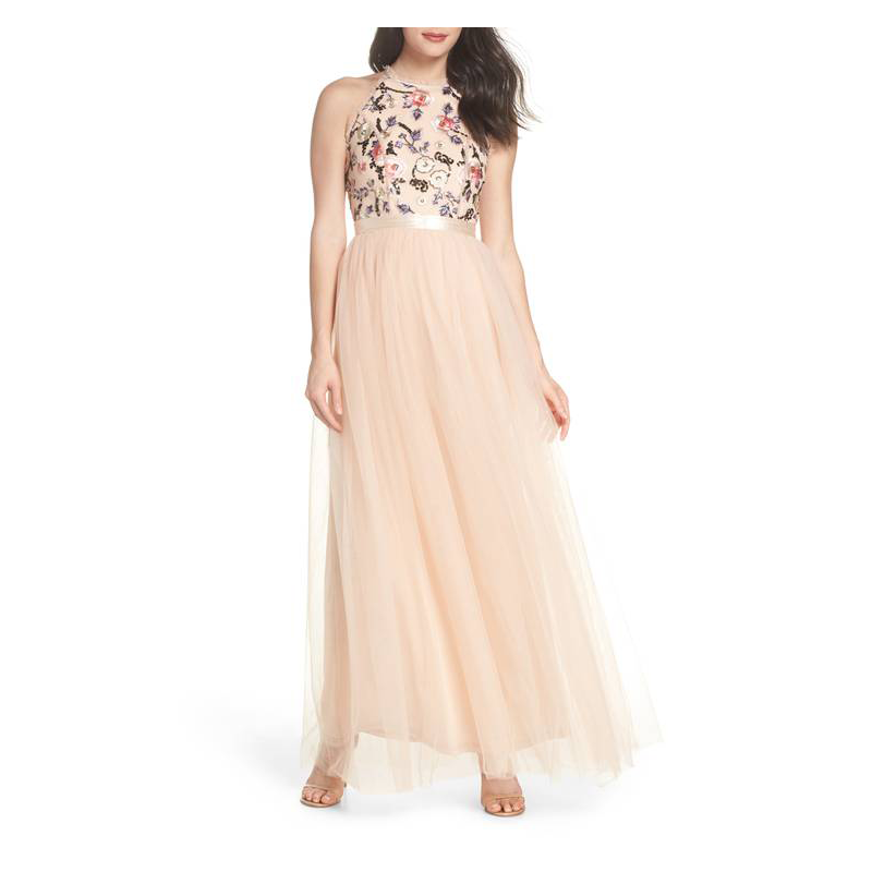 TFNC peach prom gown