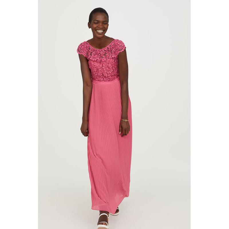 H&M pink floral prom dress