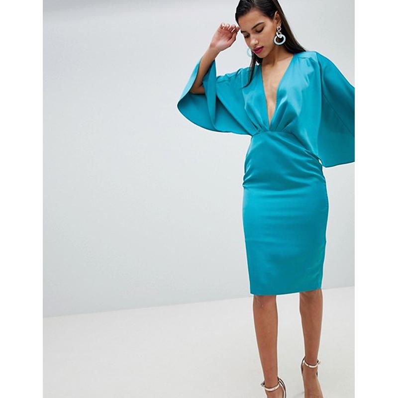 Asos blue cape prom dress