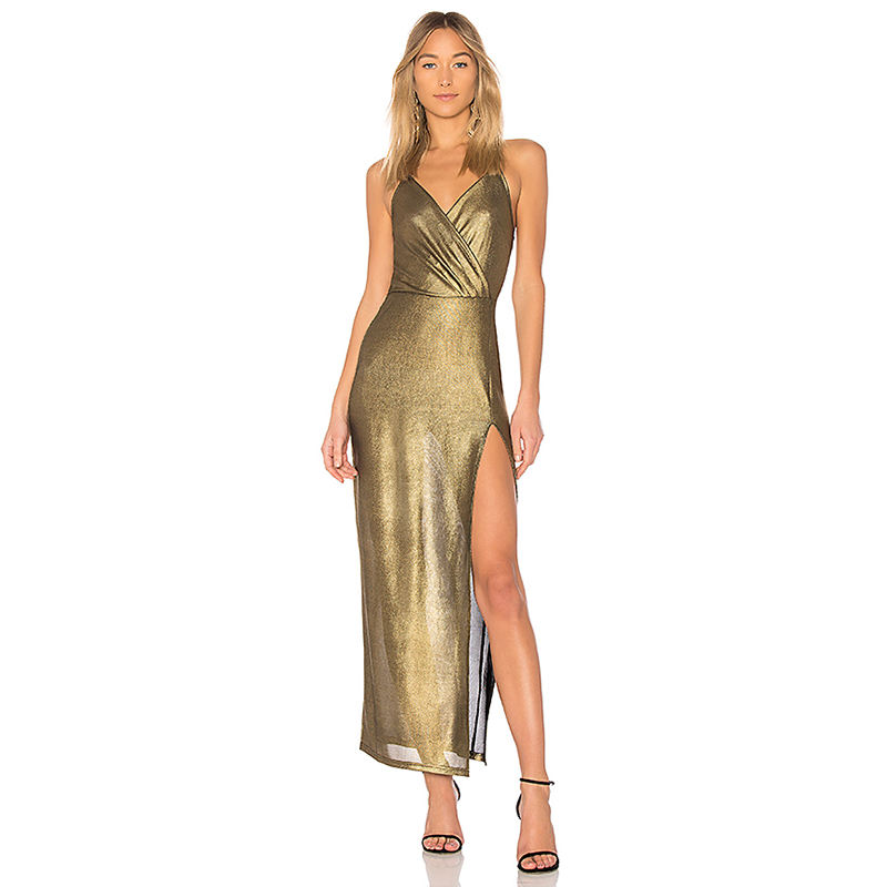 Revolve by the way gold prom dress