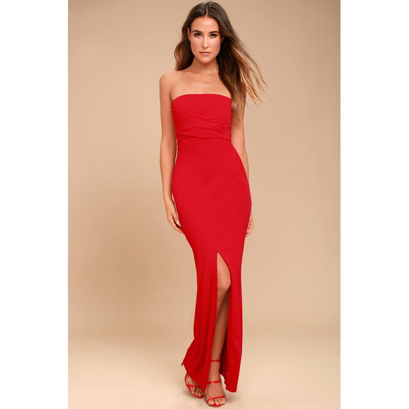 Lulus red strapless prom dress