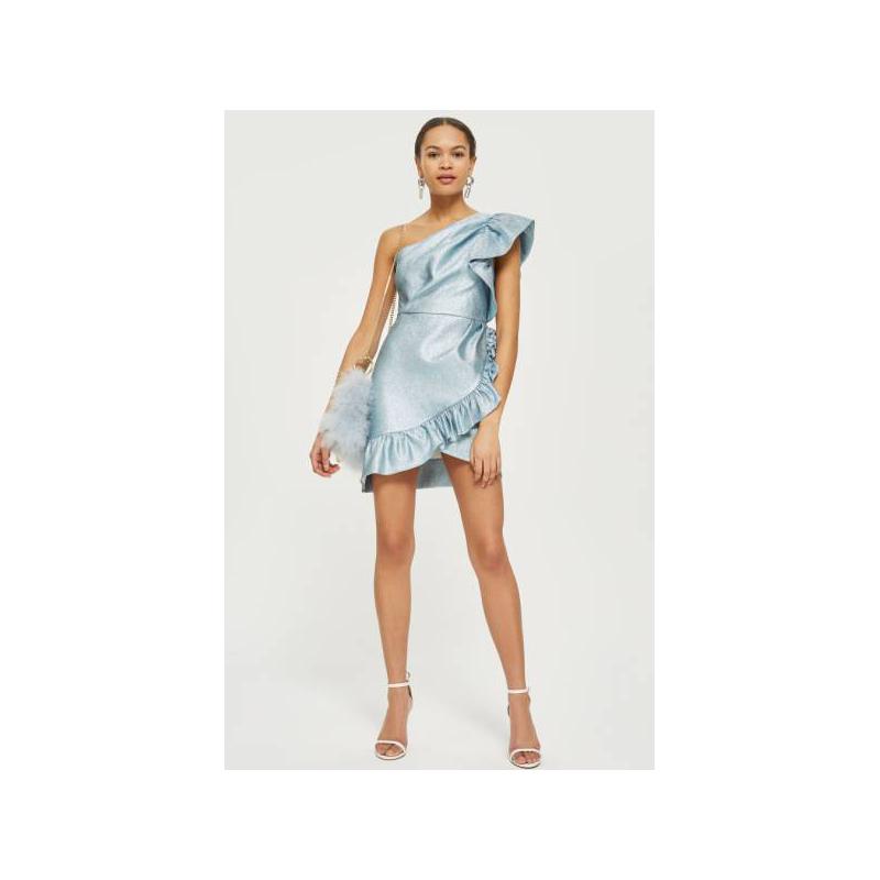 TopShop one shoulder ruffle prom dress