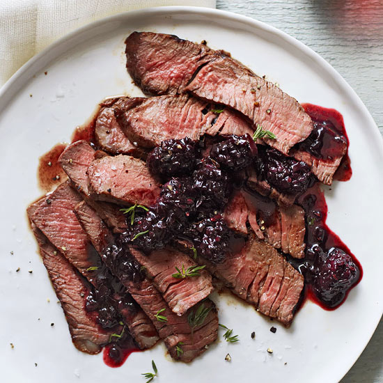 Grilled Sirloin with Blackberry Sauce