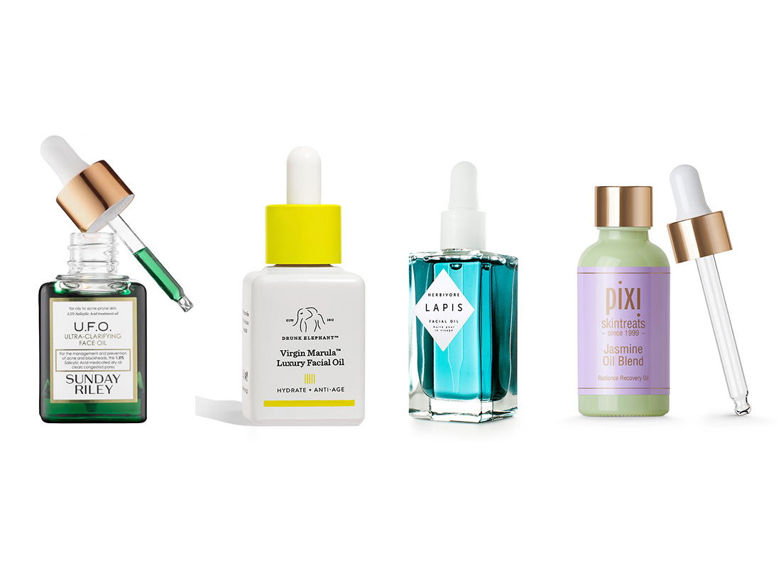 Face oils from Sunday Riley, Drunk Elephant, Herbivore Botanicals, and Pixi