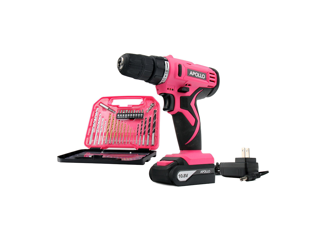 Apollo Tools hot pink cordless drill set