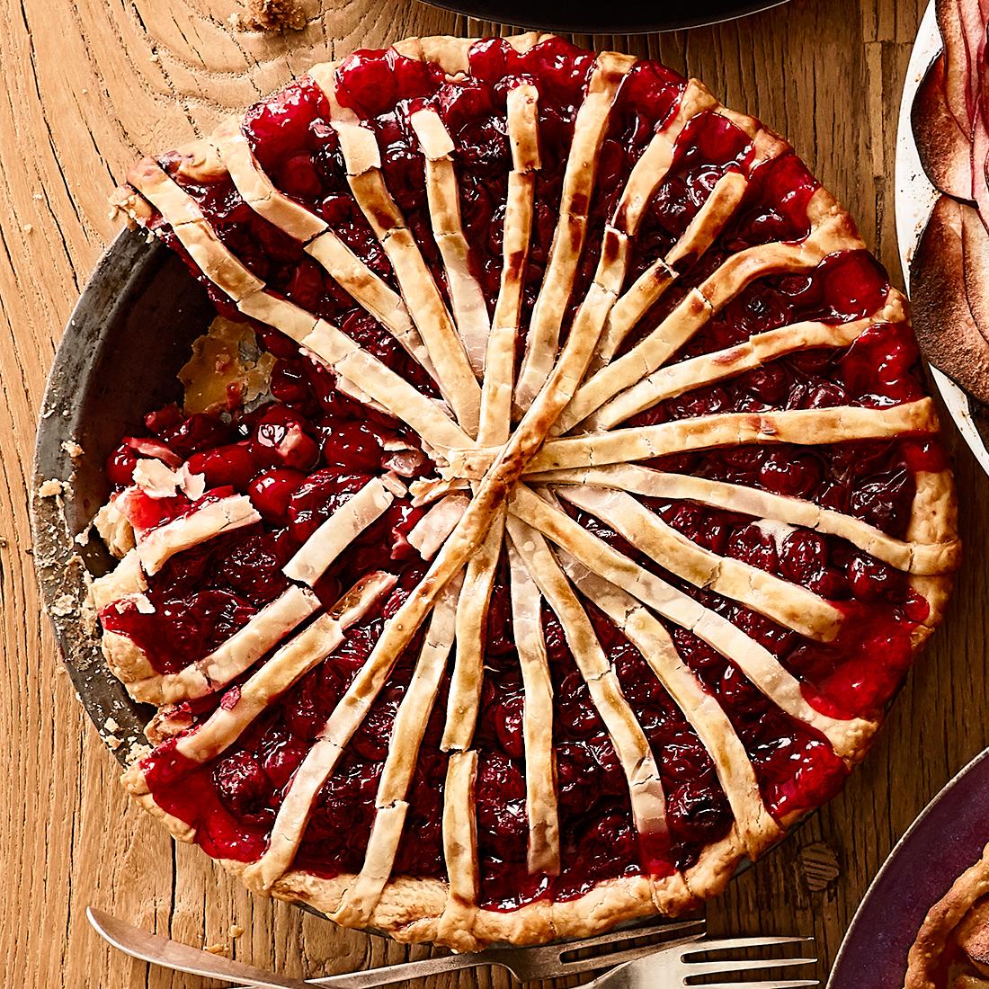 cherry tart with spoke details