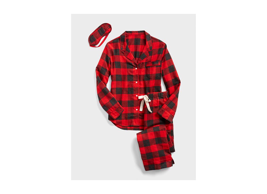 Cozy Flannel PJ Set with Eye Mask