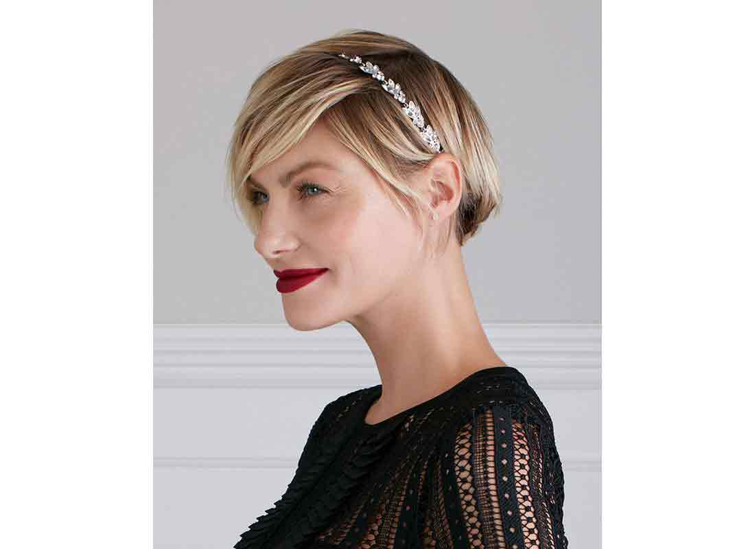 cropped hairstyle with headband