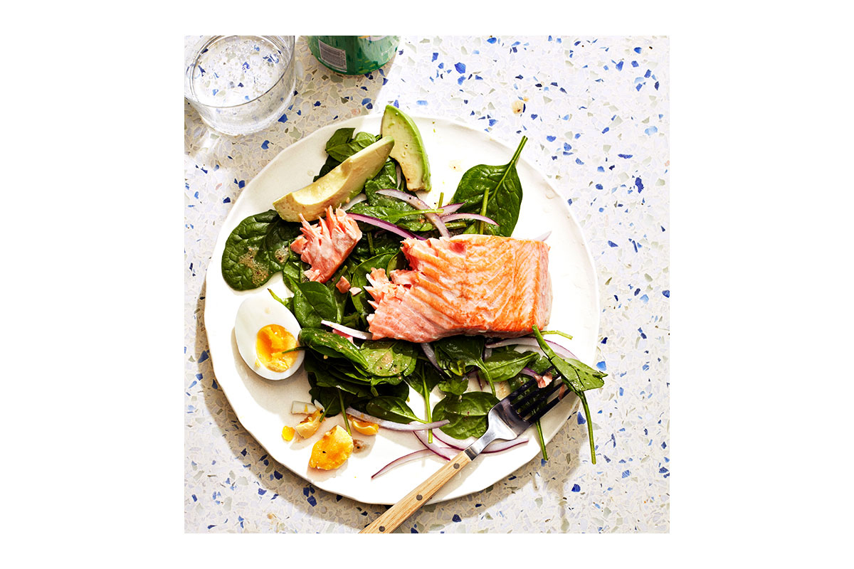 keto meal with salmon and avocado