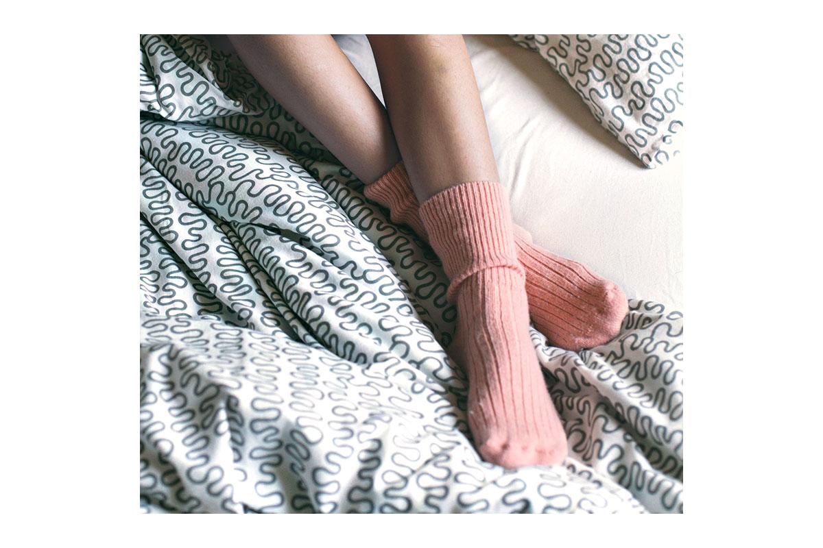 feet in cozy socks