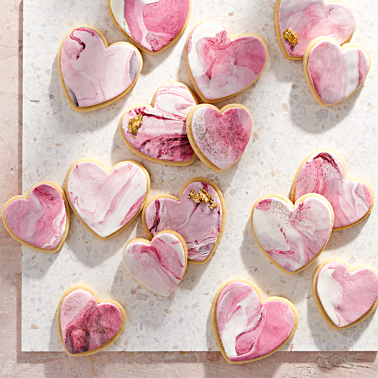 vanilla sugar cookies with marbled frosting