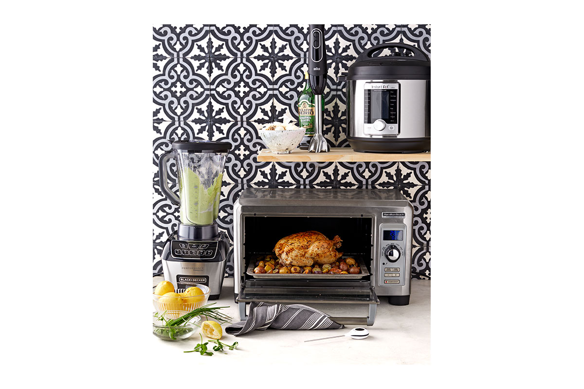 standing blender, immersion blender, electric multicooker, toaster oven, instant-read digital thermometer