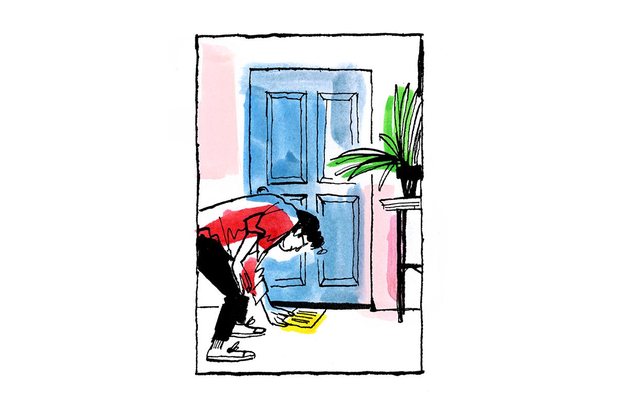 illustration of woman sliding letter under her child's bedroom door