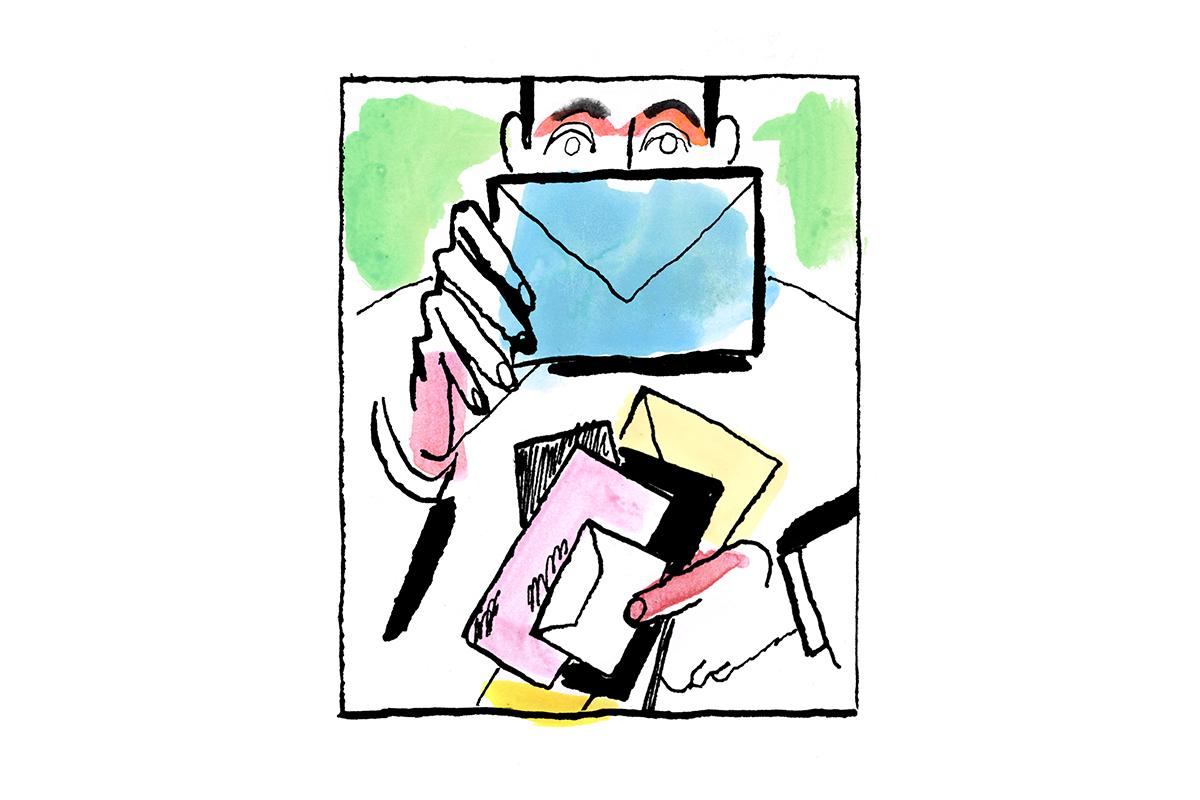 illustration of man holding snail mail