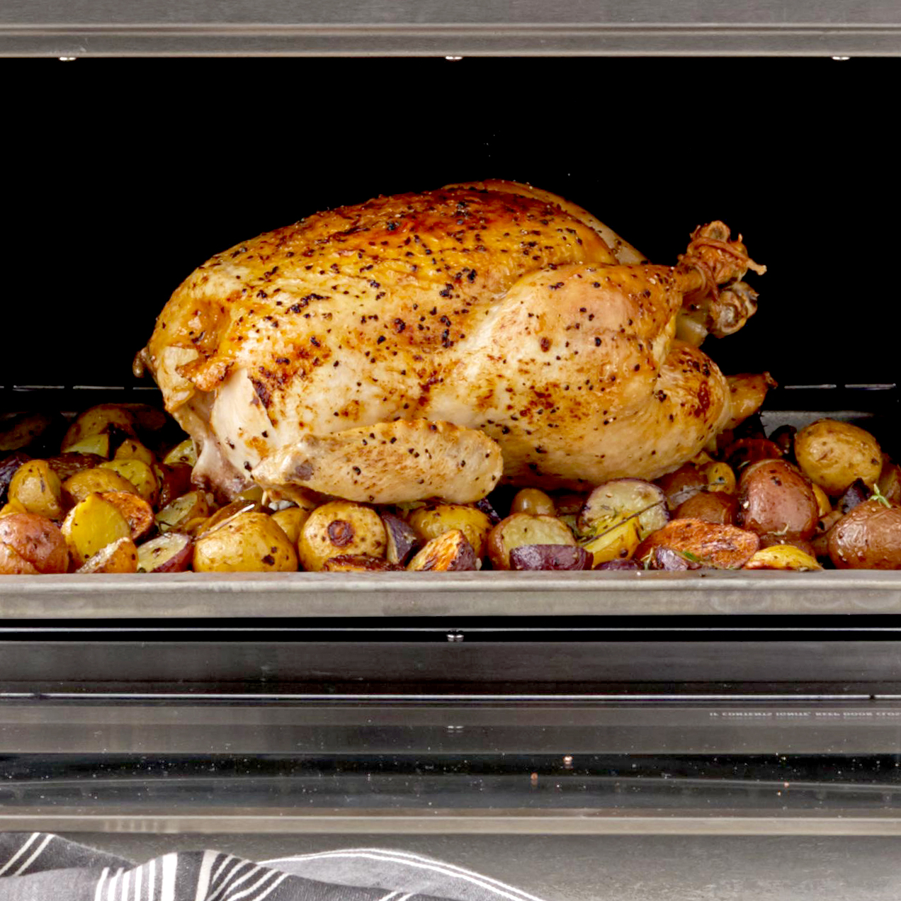 roast chicken and potatoes in toaster oven