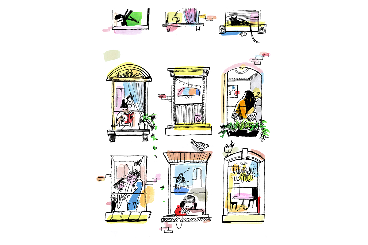 illustration of people in windows of apartment building