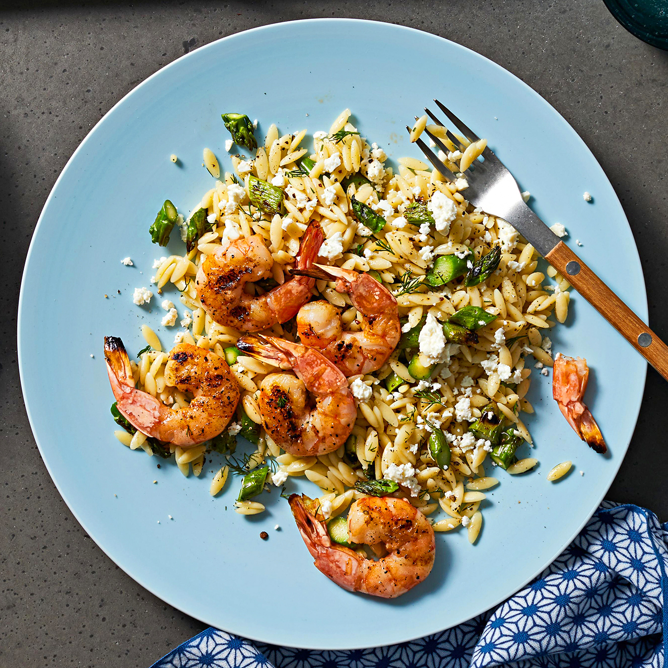 Orzo Salad with Grilled Shrimp