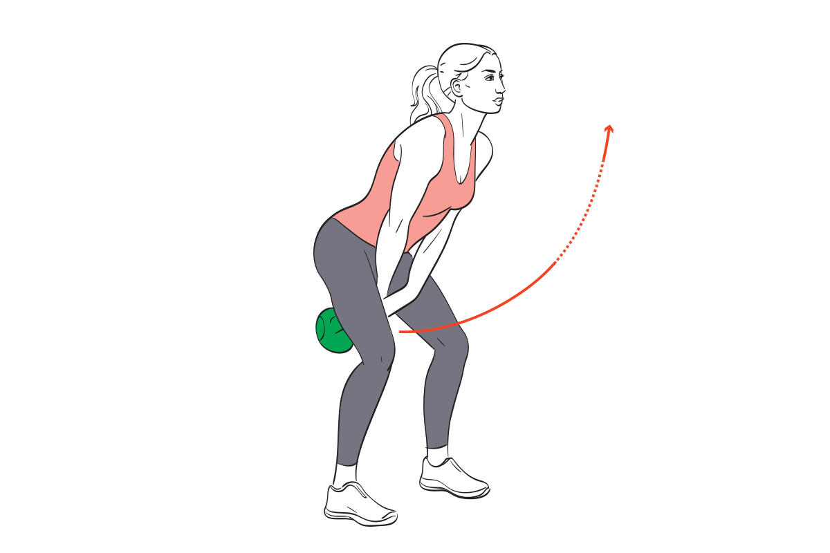 kettlebell swings for ab workout to flatten abs