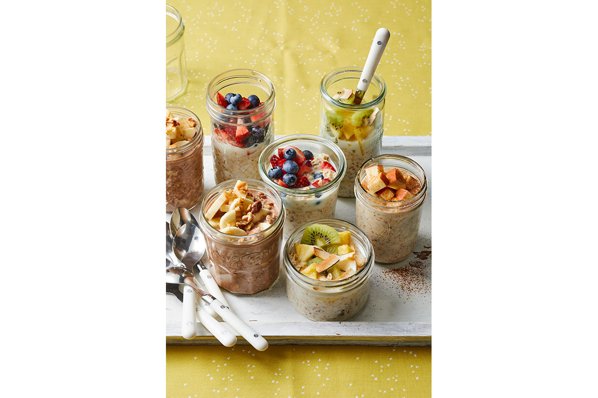 variety of overnight oats in mason jars