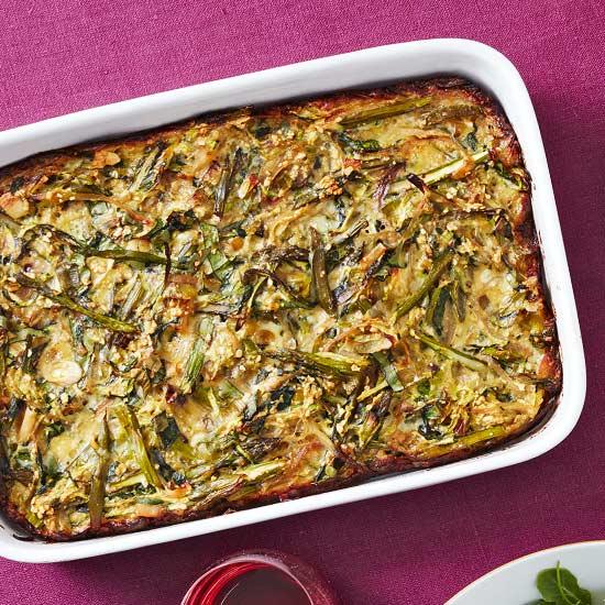 Asparagus, Zucchini and Leek Kugel