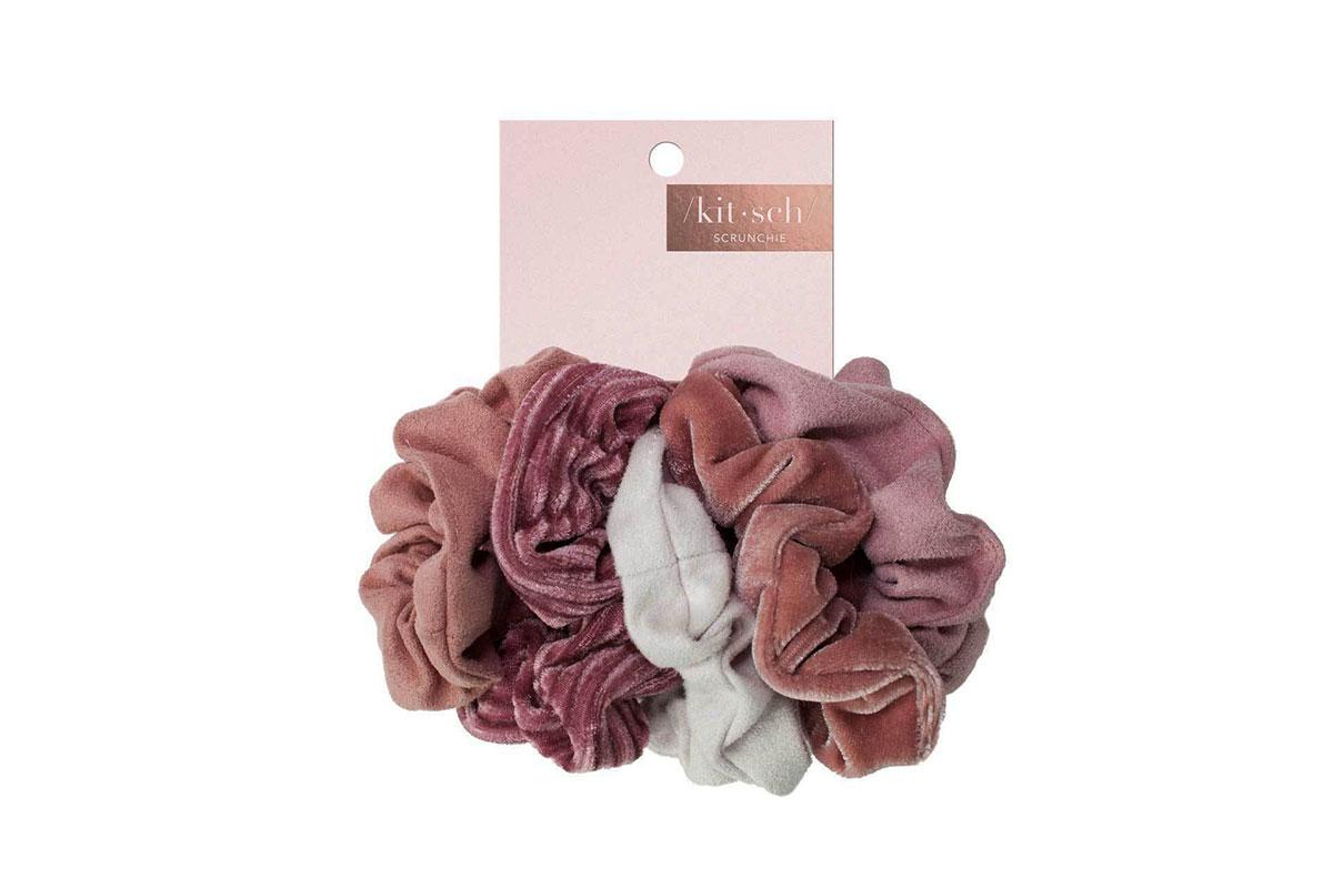 Kitsch Velvet Scrunchies in Blush/Mauve