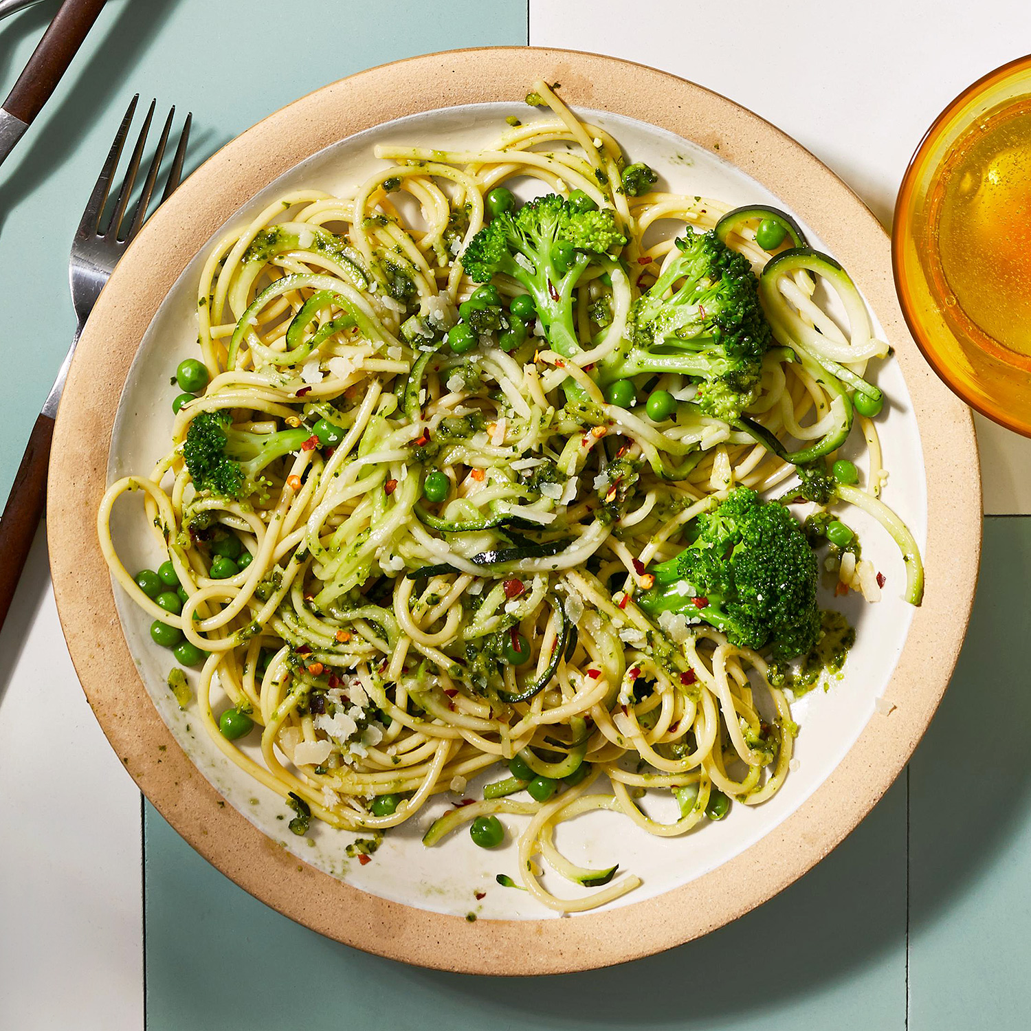 broccoli and pesto with spaghetti