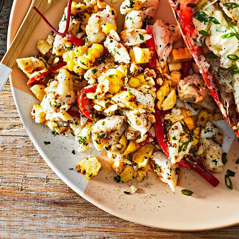 crab and corn salad on plate