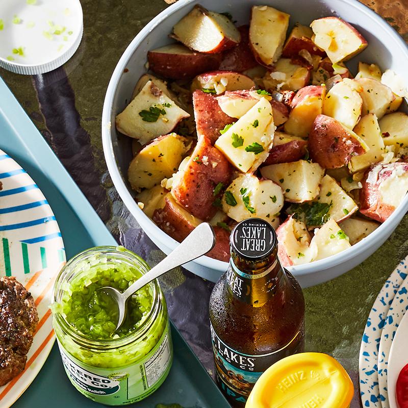 warm german potato salad in bowl