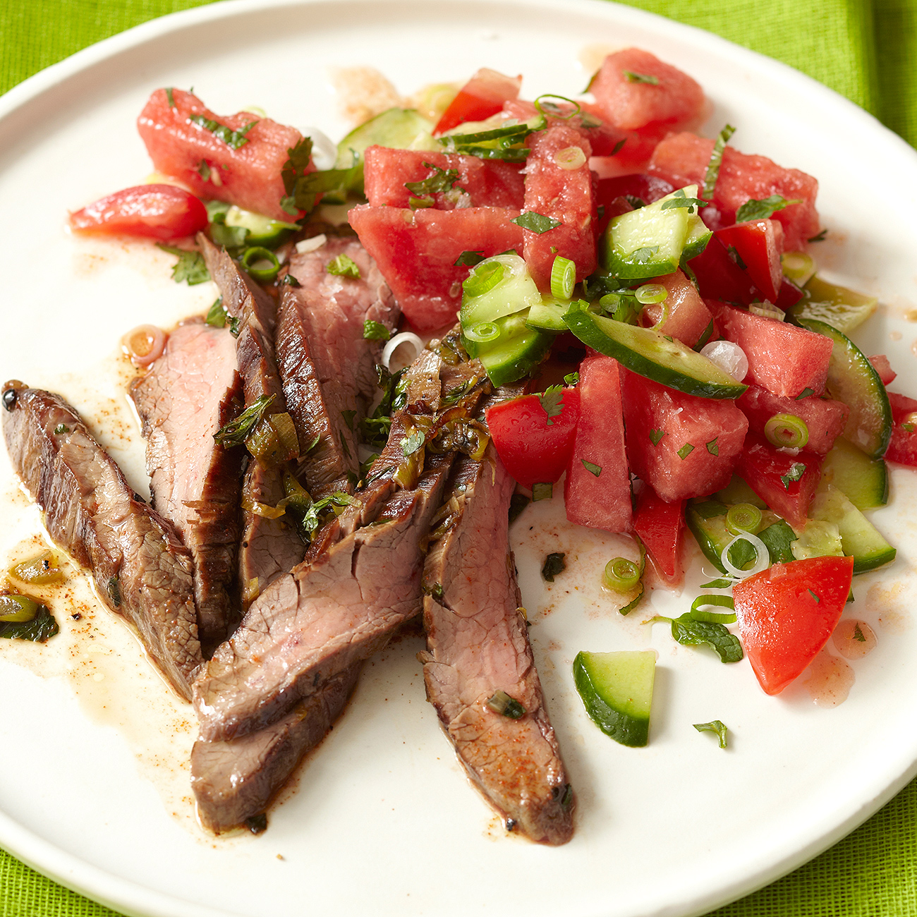 flank steak on plate with salad