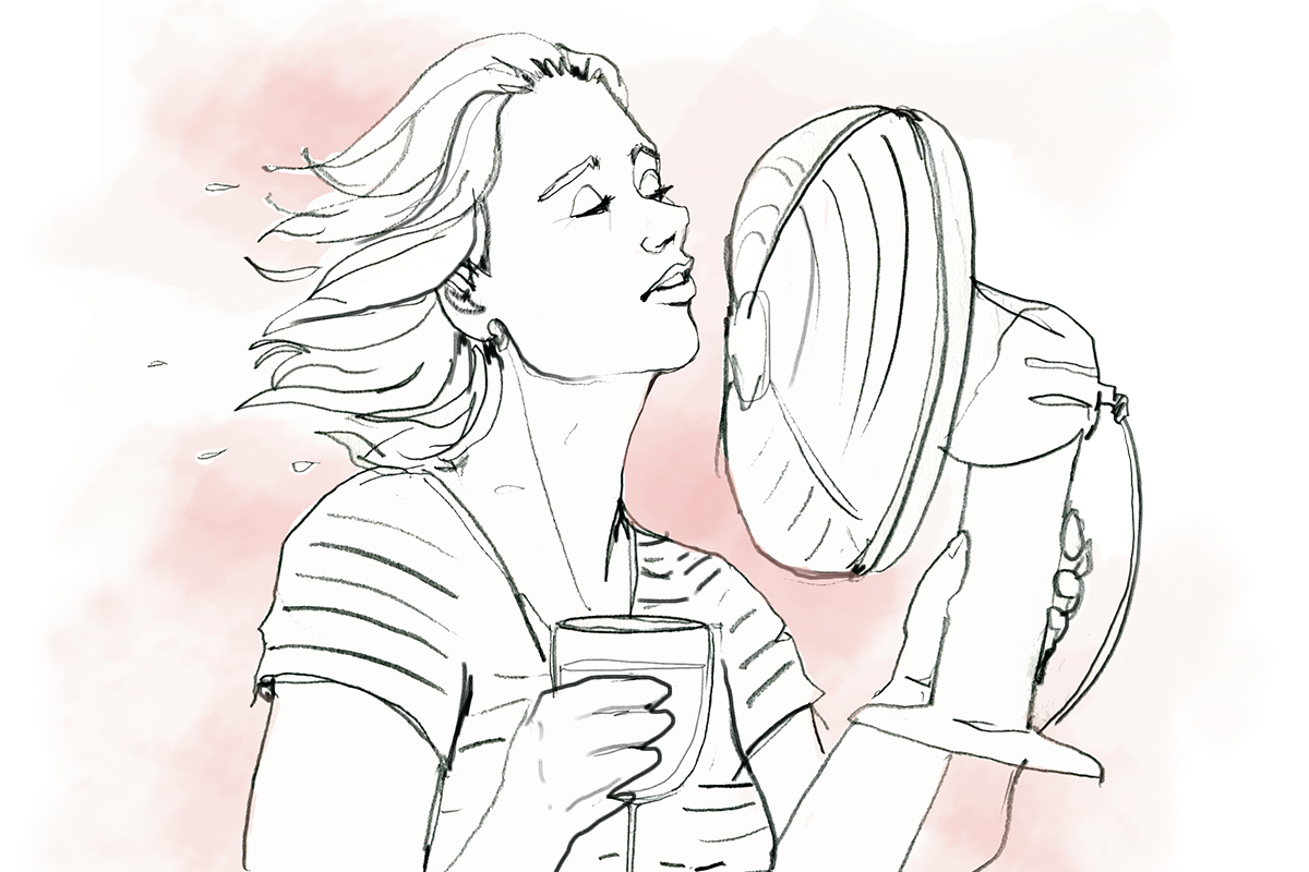 Menopause woman with fan illustration