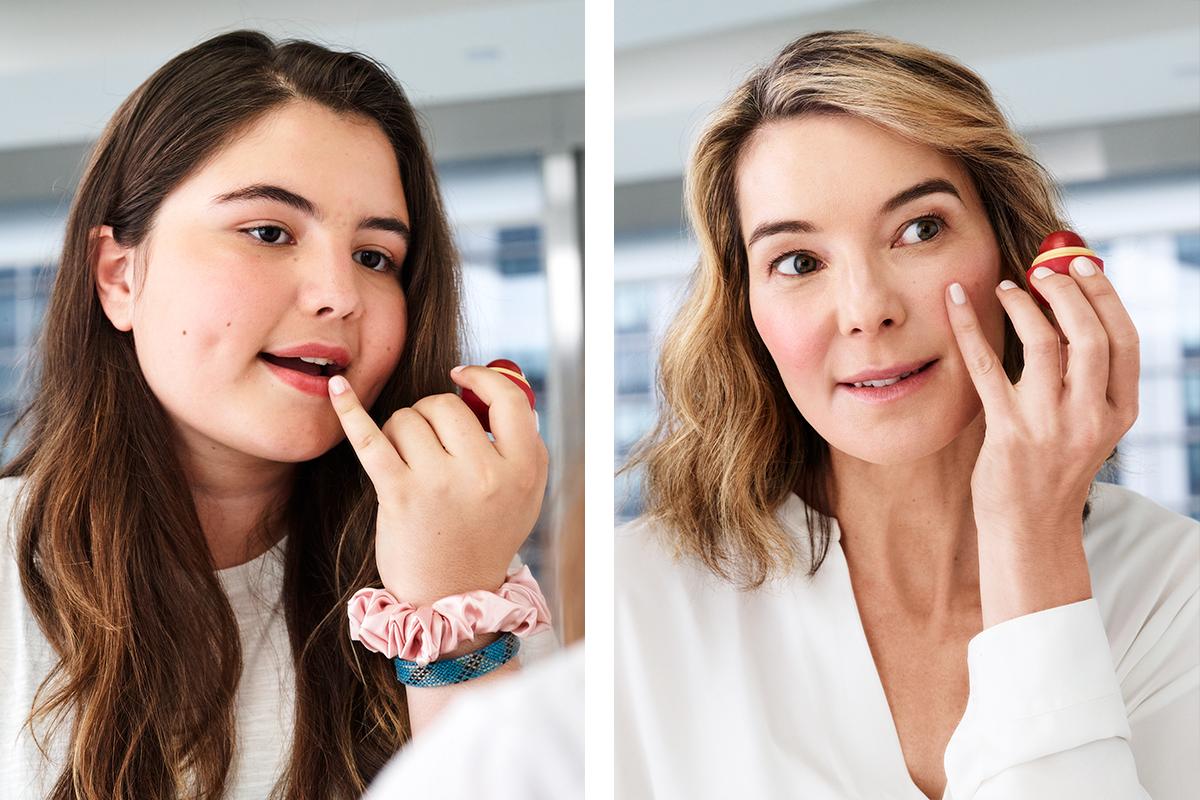 mother daughter applying makeup 2019